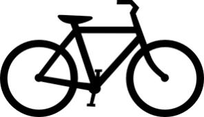 getekende zwarte fiets tegen een witte achtergrond
