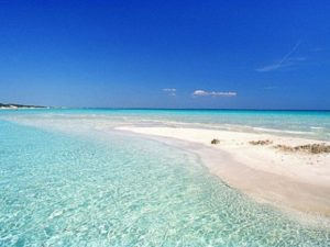 strand van punta prosciuto Puglia wit zand en azuurblauw water tegen een blauwe hemel