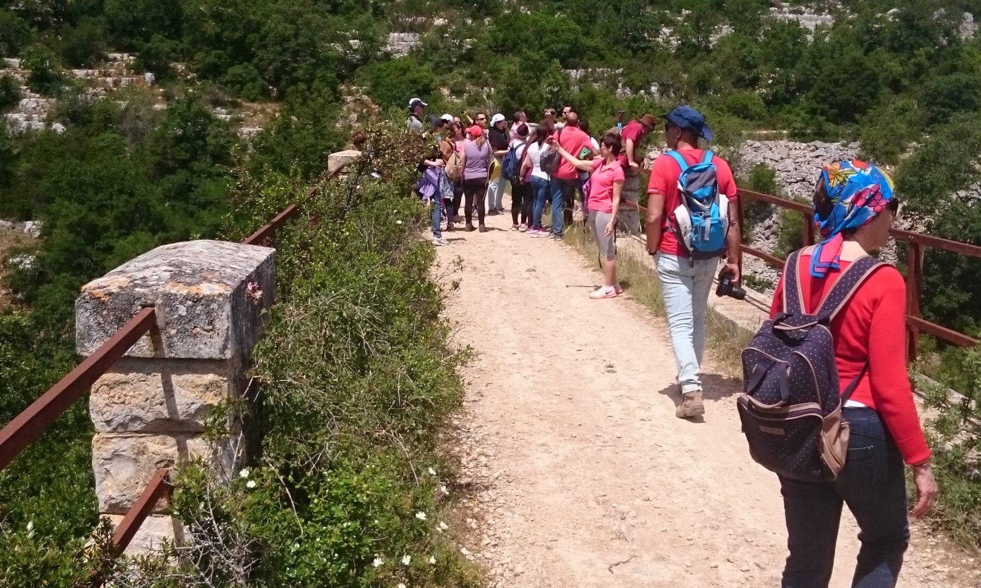 wandelaars op een grindpad door de heuvels